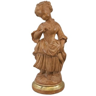 1910s French Terracotta Painted Femme Statue