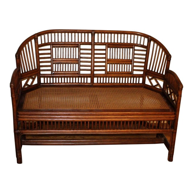 Vintage Mid Century Bamboo Rattan Pavilion Brighton Chinoiserie Chippendale Caned Settee For Sale - Image 10 of 10