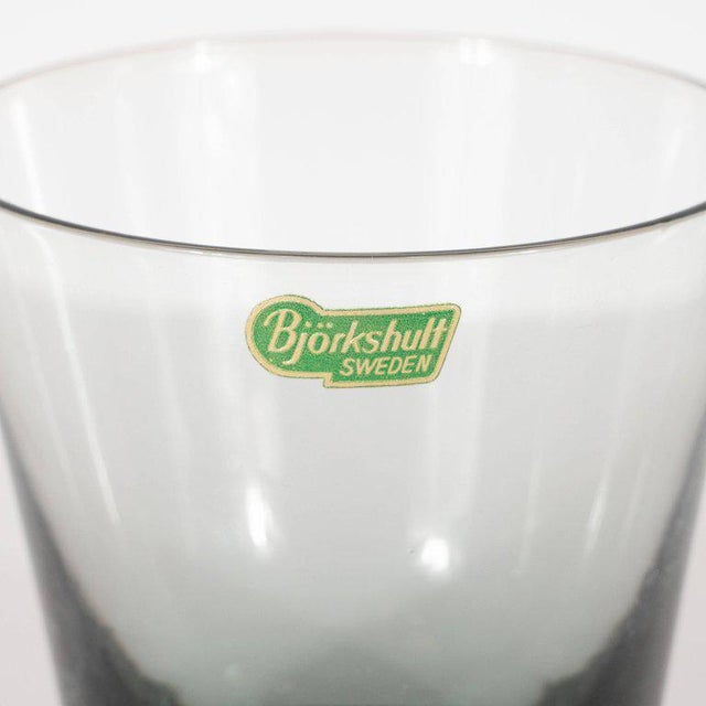 Set of 12 Mid-Century Modern Swedish Smoked Gray Low Ball Glasses by Björkshult For Sale - Image 4 of 7