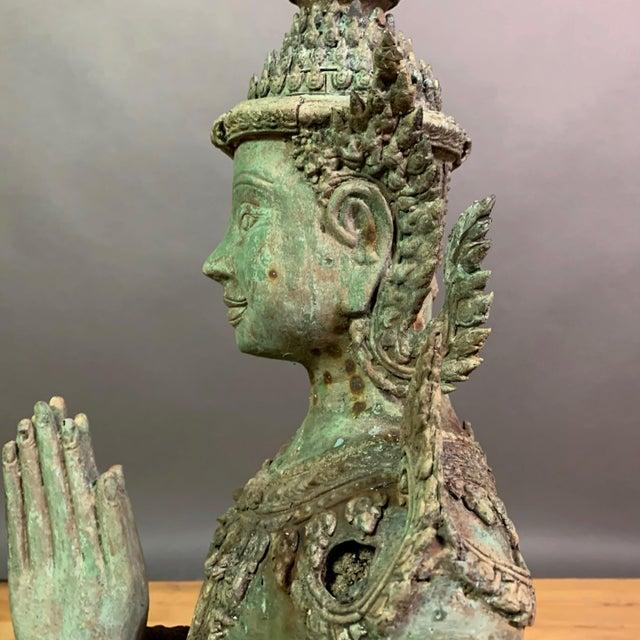 "Early 1900s Mythologic Thepphanom Angel 30"" Bronze Statue, Thailand For Sale - Image 9 of 12"