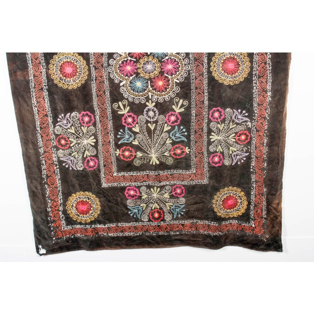 Embroidered Vintage Velvet Suzani For Sale In Detroit - Image 6 of 7