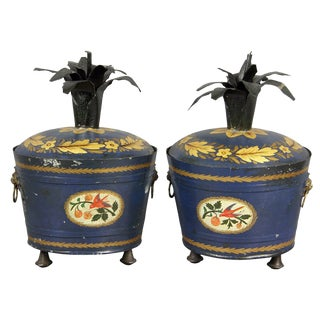 Pair of Swedish Tole Peinte Covered Barrels For Sale