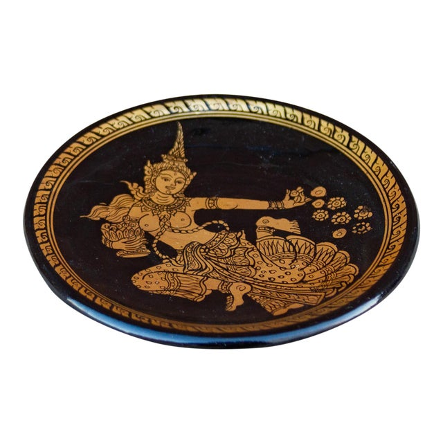 Thai Black and Gilt Plate For Sale