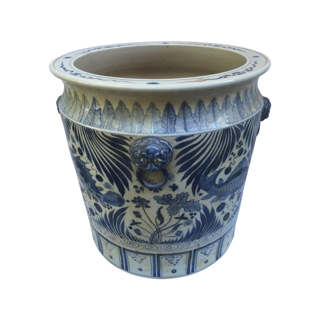 Blue & White Chinese Fish Motif Planter - Image 1 of 10