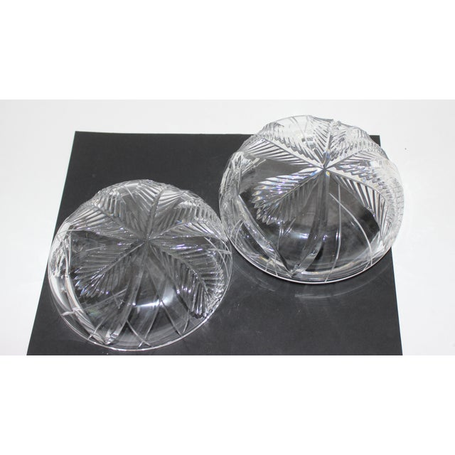 Glass Palm Tree Lidded Box Bonbonnier in Cut Crystal For Sale - Image 7 of 11