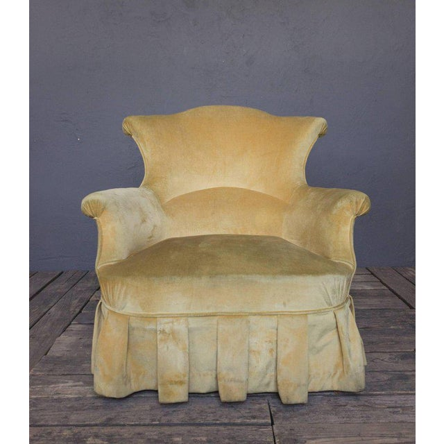 Pair of French, 19th Century Armchairs in Faded Gold Velvet - Image 3 of 10