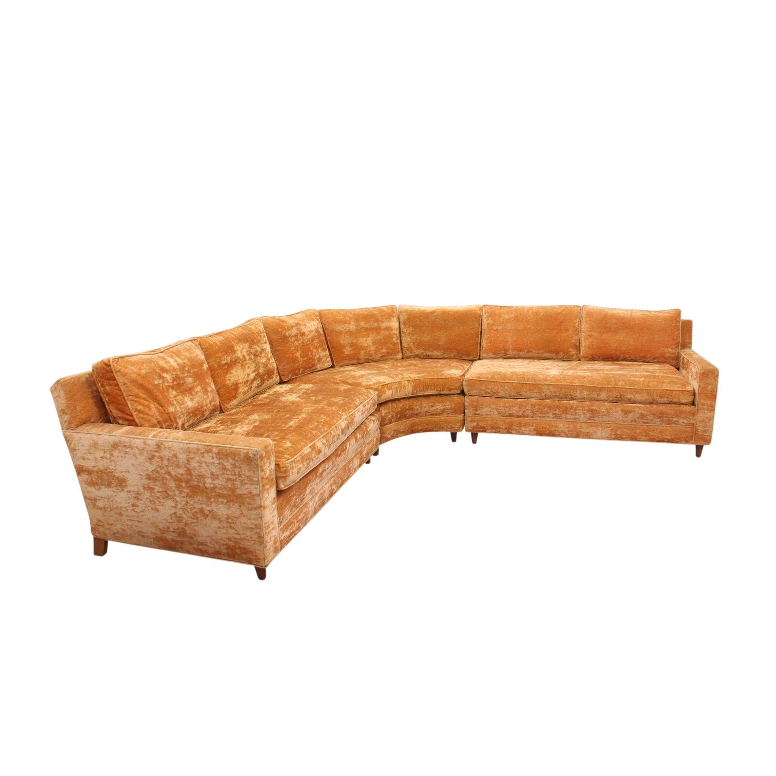 Mid Century 3-Piece Sectional Sofa in Orange Velvet