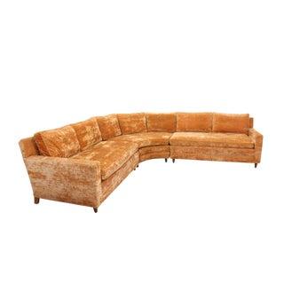 Mid Century 3-Piece Sectional Sofa in Orange Velvet For Sale