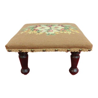 Petite Antique Needlepoint Footstool