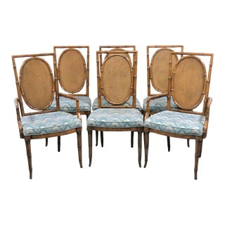 Faux Bamboo Fruitwood Dining Chairs- Set of 6 For Sale
