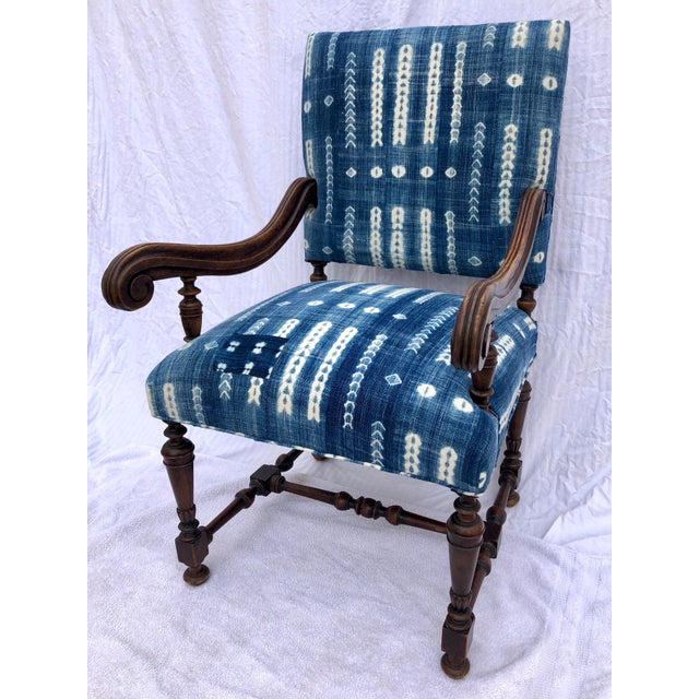 Antique Jacobean-Style Mahogany Mali Indigo Upholstered Armchair - Image 11 of 11
