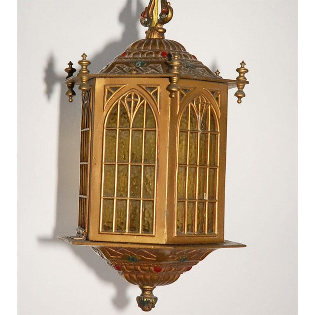 Gothic 1910s Gothic Style Bradley and Hubbard Gold Metal Hall Lantern For Sale - Image 3 of 9