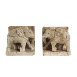 Vintage Marble Elephant Bookends - A Pair For Sale