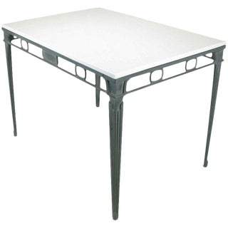 Verdigris Aluminum and Thassos Porcelain Dining Table For Sale