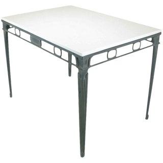 Verdigris Aluminum and Thassos Porcelain Dining Table For Sale