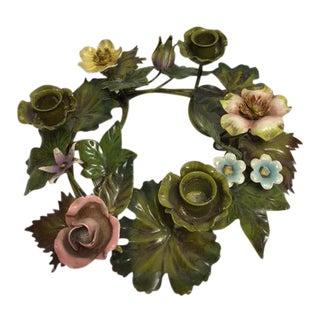 Vintage Italian Tole Floral Centerpiece Wreath