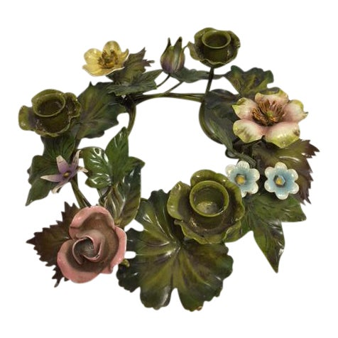 Vintage Italian Tole Floral Centerpiece Wreath - Image 1 of 6