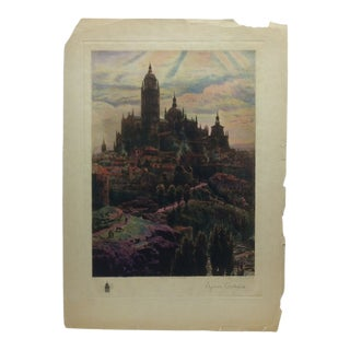 "Vintage The Churchman Company Print ""The Great Castle"" by Segoria Canudral Circa 1930 For Sale"