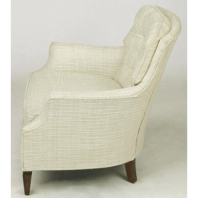 Button Tufted Creamy Linen Lounge Chair and Ottoman For Sale - Image 4 of 9