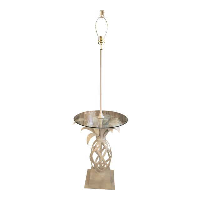 Vintage Hollywood Regency White Lacquered Metal Pineapple Floor Lamp Table For Sale