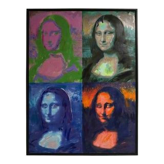 """Vintage 1982 M. Eisner """"Homage to Warhol"""" Giclee Painting of the Mona Lisa For Sale"""
