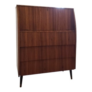 1950s Mid-Century Modern Secretary Desk and Chest of Drawers Cabinet For Sale