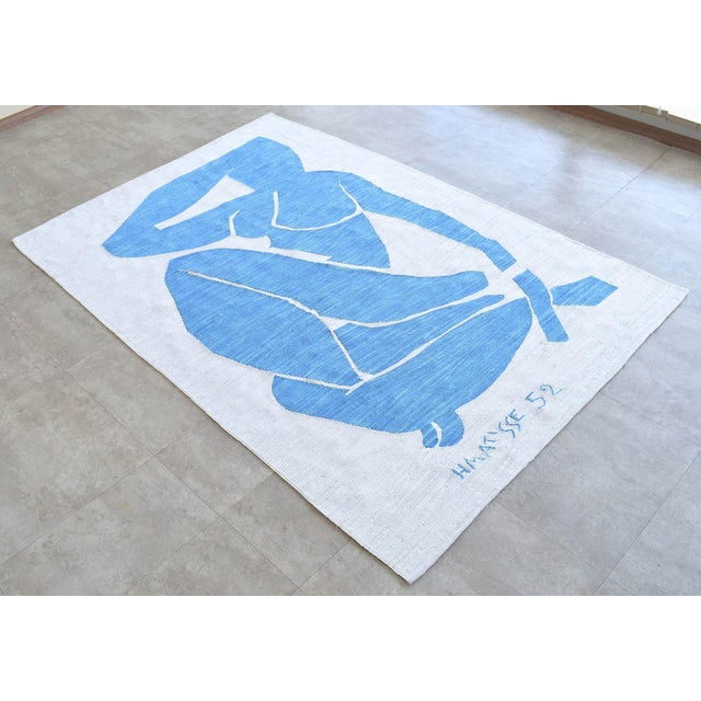 Figurative Henri Matisse - Blue Nude 3 - Inspired Silk Hand Woven Flat Weave Area - Wall Rug 4′8″ × 6′10″ For Sale - Image 3 of 12