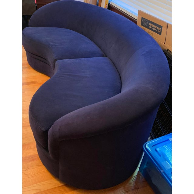 Mint condition blue Vladimir Kagan for Directional Nautilus Ultrasuede Kidney Shaped Sofa, custom made. Purchased from...
