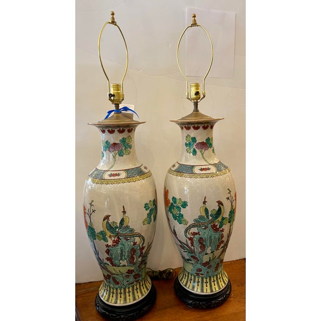 Hollywood Regency Vintage Chinese Crackle Pottery Table Lamps - a Pair For Sale - Image 3 of 6
