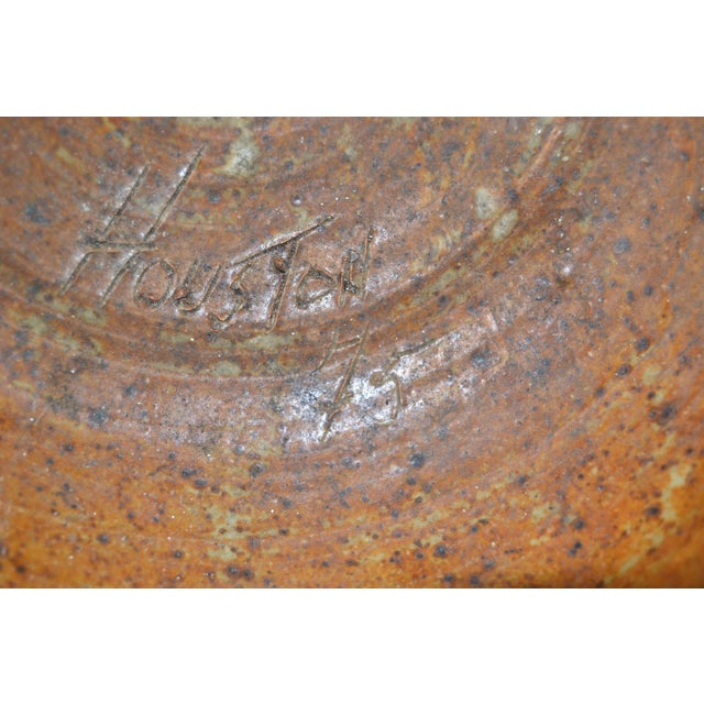 Houston 75 Mid-Century Modern Brown & Red Pottery Earthenware Round Bowl Vessel For Sale - Image 11 of 13