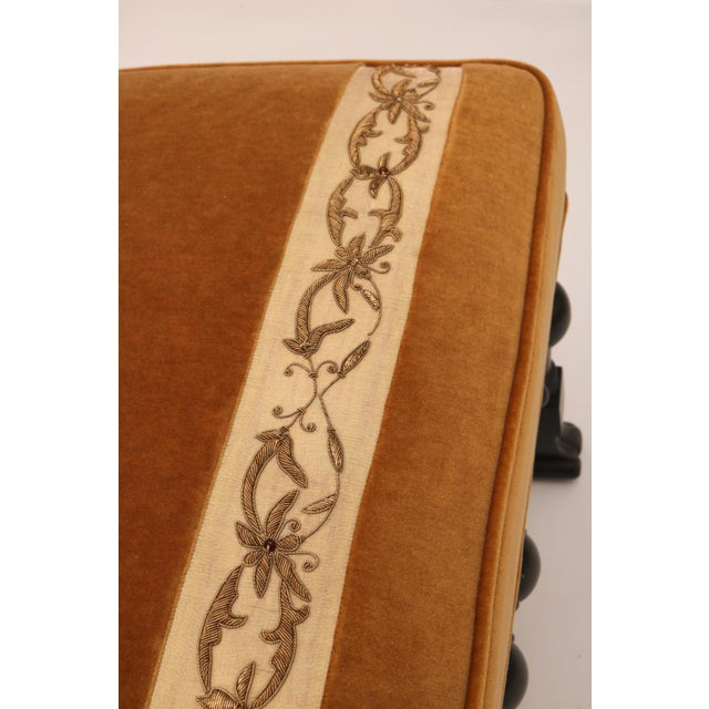 Pair of 19th Century Italian Stools, Rectangular with Gold Velvet and Embroidered Fabric - Image 3 of 8