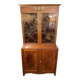 English Mahogany Sheraton Style Bookcase With String Inlay and Leather Book Design For Sale