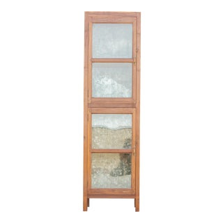 Tall 19th Century British Colonial Glass Cabinet For Sale