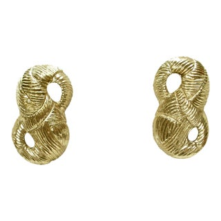 1980s Givenchy Carved Bow Clip Back Earrings For Sale