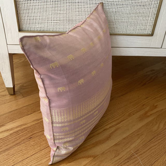 2010s Contemporary Pink Thai Silk Pillow With Elephant Motifs For Sale - Image 5 of 11
