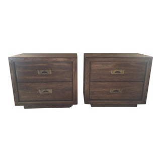 Hollywood Regency Walnut Campaign Nightstands - A Pair