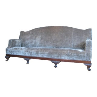 Antique 19th Century Velvet Sofa For Sale