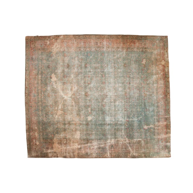 "Vintage Distressed Tabriz Square Carpet - 11'10"" X 13'11"" For Sale"