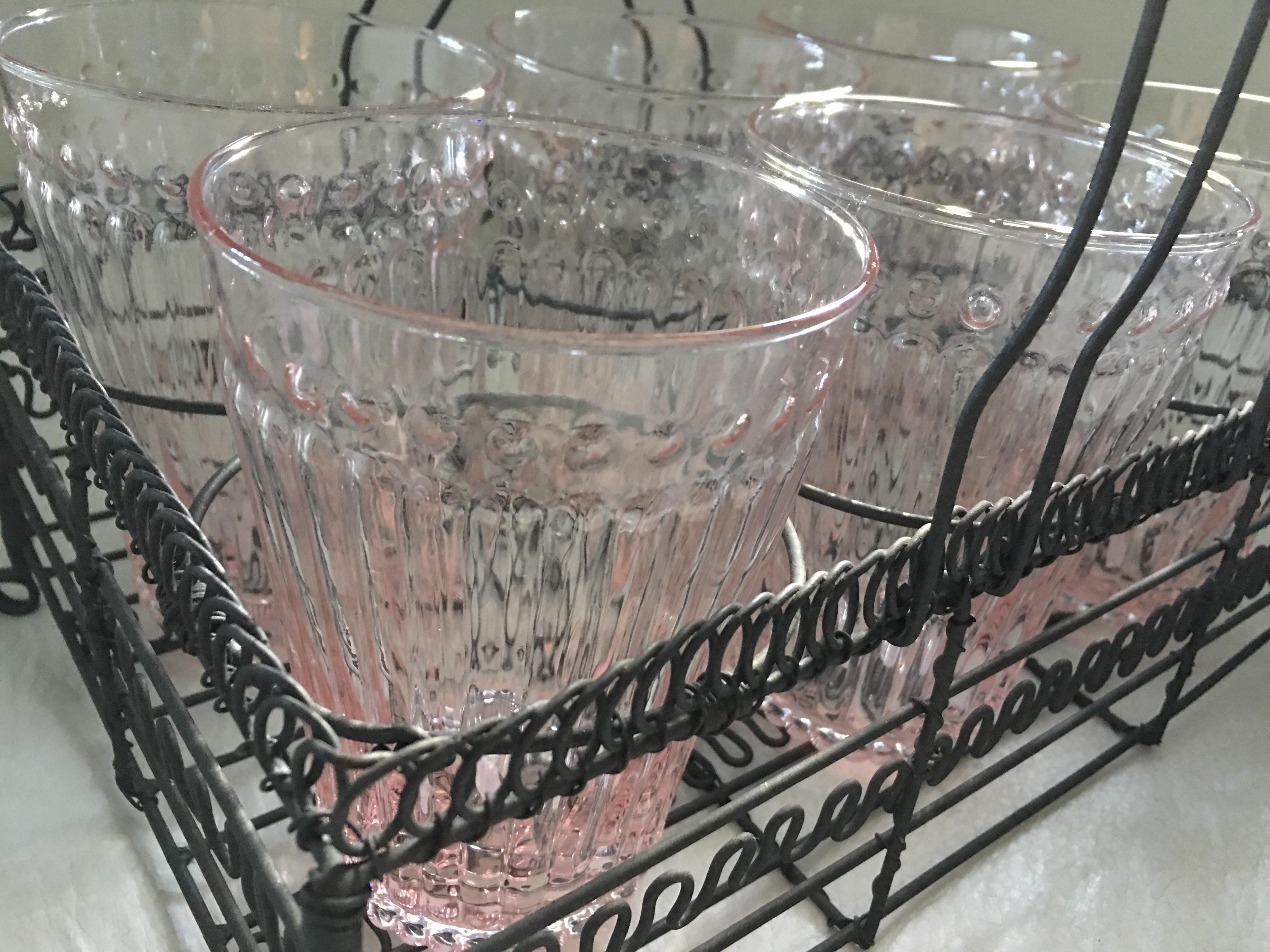 Table Caddy Set Part - 18: Blush Glasses U0026 Wire French Caddy Set For Sale - Image 5 ...