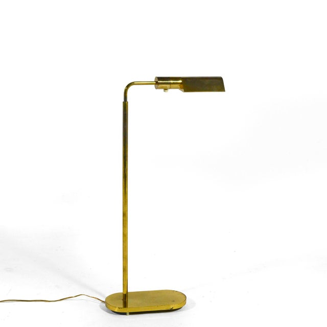 Mid-Century Modern Casella Adjustable Brass Pharmacy Floor Lamp For Sale - Image 3 of 11
