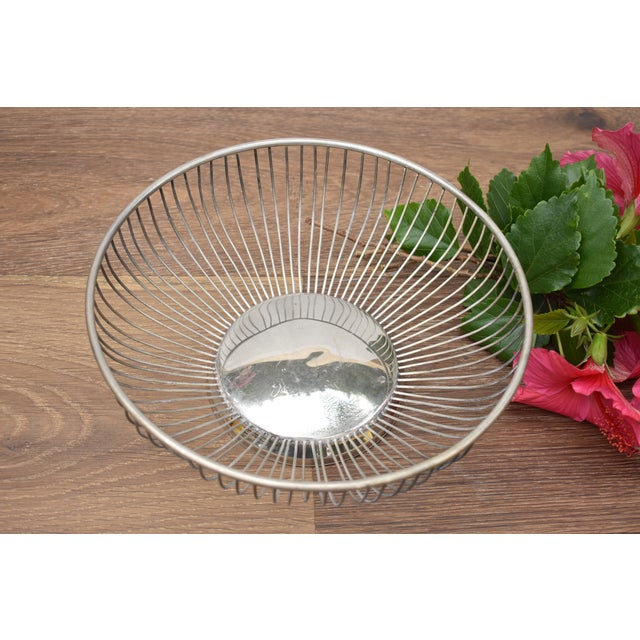 Industrial 1970s Vintage Silver Plated Wire Bowl For Sale - Image 3 of 5