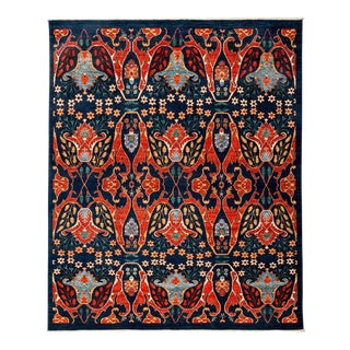 """Ziegler, Hand Knotted Navy Blue Floral Motif Area Rug - 7' 10"""" X 9' 6"""" For Sale"""