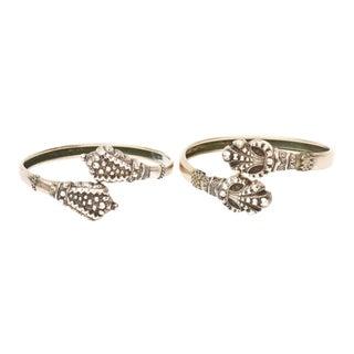 Pair of Silver Snake Bangle Bracelets For Sale