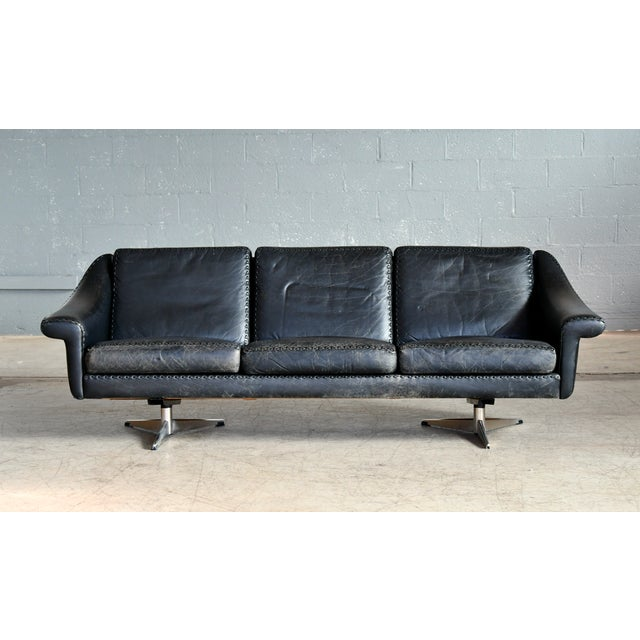 Elegant three seat leather sofa model Matador from 1966 designed by Aage Christiansen in the mid-1960s and produced by...