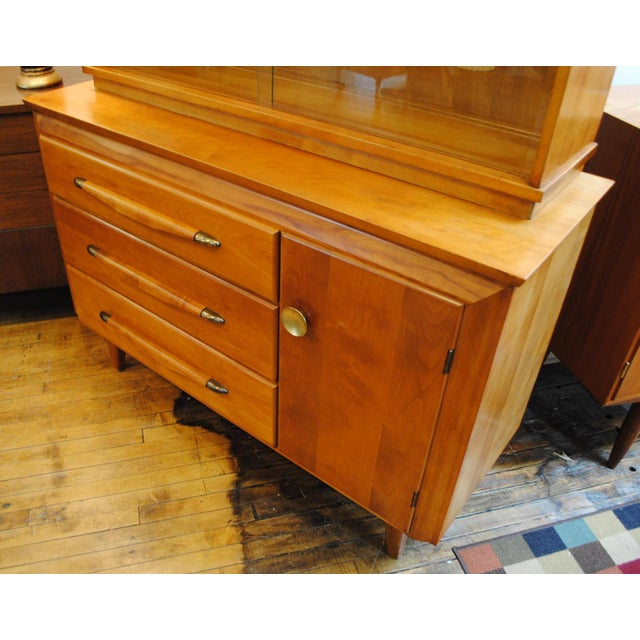 Solid Maple 1950's Credenza w/Hutch top by Temple Stuart Furniture Co. Wonderful Mid Century Modern piece with ample...