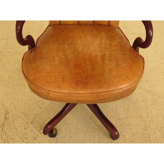 Century Furniture Century Tufted Leather Office / Desk Chair For Sale - Image 4 of 12