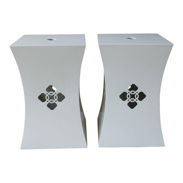 Chinoiserie White Lacquer Stands - a Pair For Sale