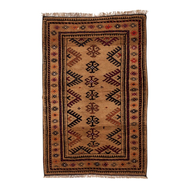 """1950s Turkish Wool & Camel Hair Area Rug - 40"""" x 62"""" For Sale"""
