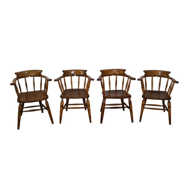 Antique English 19th Century Pub Chairs - Set of 4 For Sale