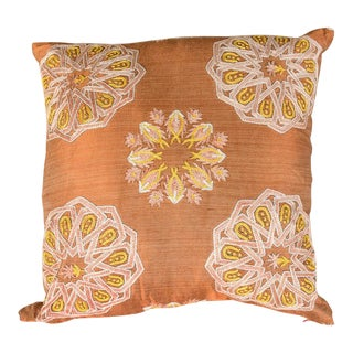 Modern Embroidered Copper Sofa Pillow For Sale